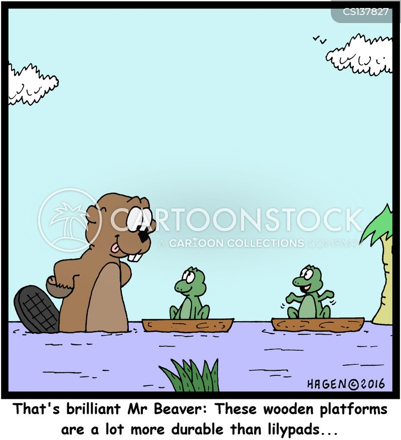 pond animals cartoon