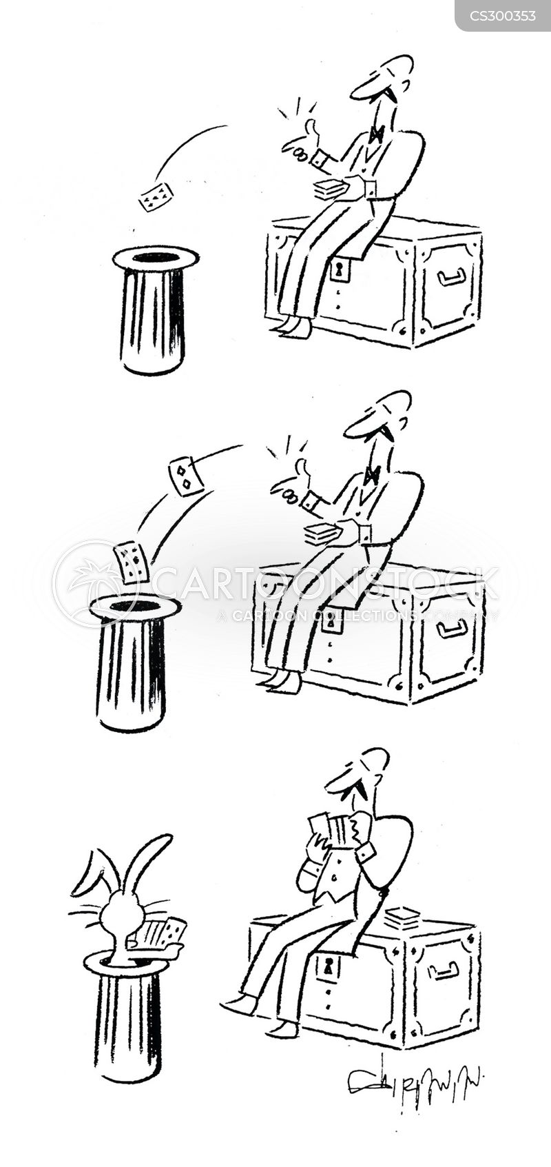 card trick cartoon