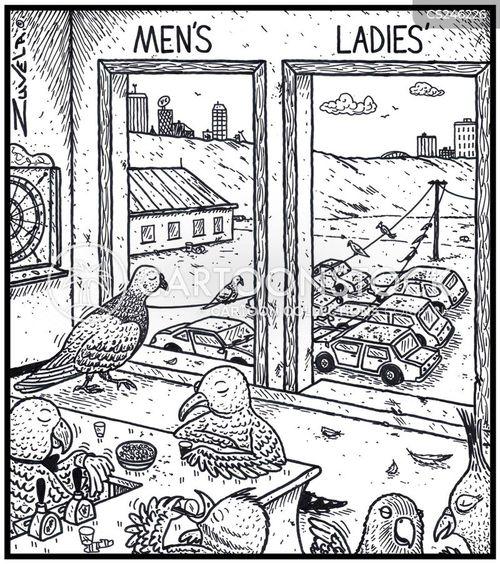 ladies room cartoon