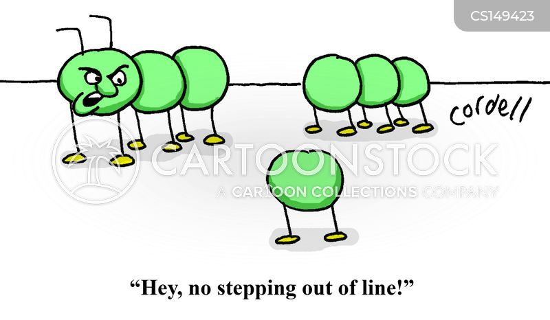 stepping out of line cartoon