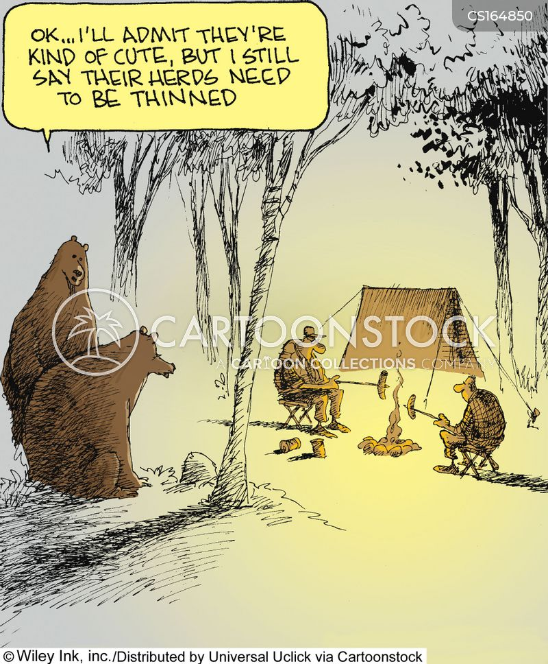 Bears commenting on human population by Wiley Miller