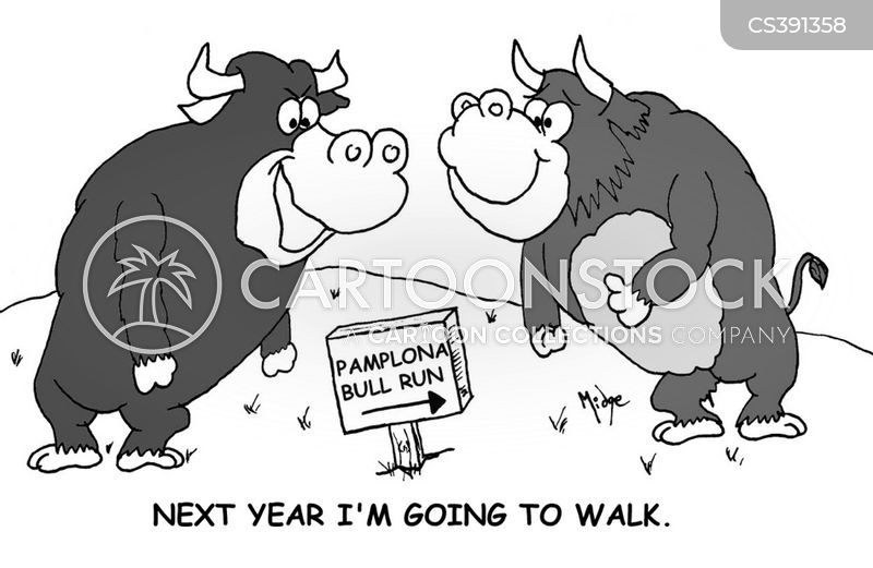 bull runs cartoon