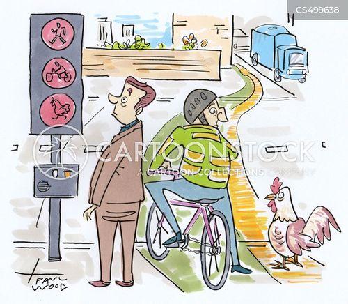 bike crossings cartoon