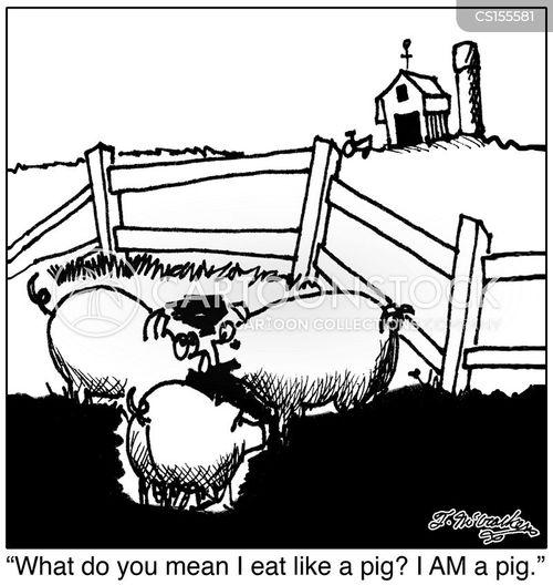 eating like a pig cartoon
