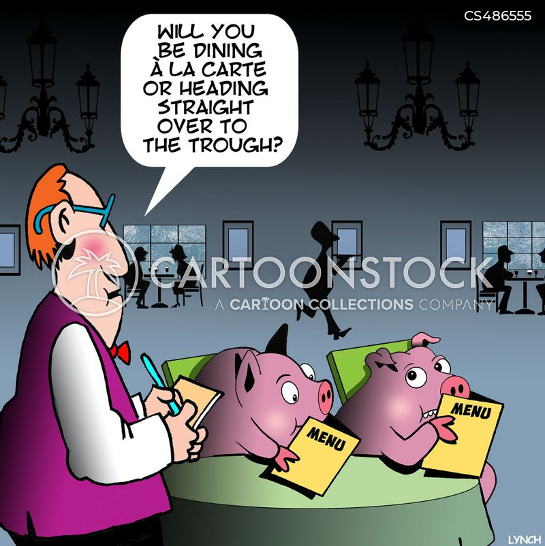 buffet dining cartoon