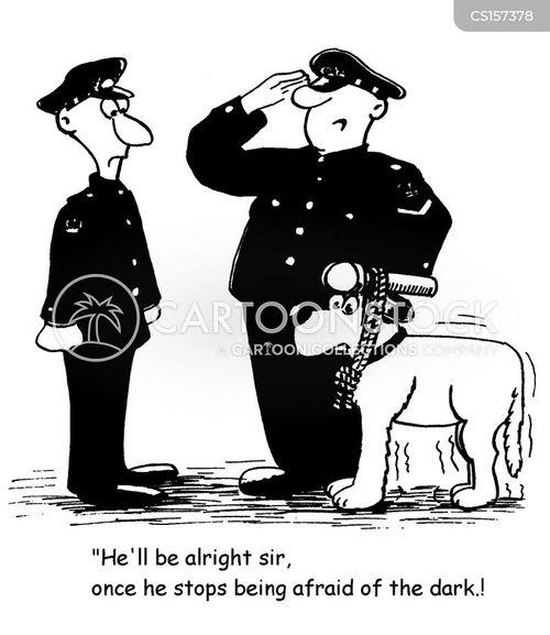 police dog handler cartoon