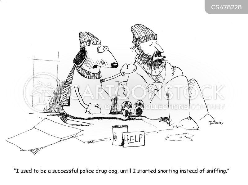 drug dog cartoon