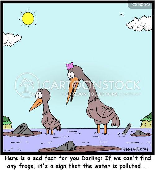 water pollutants cartoon