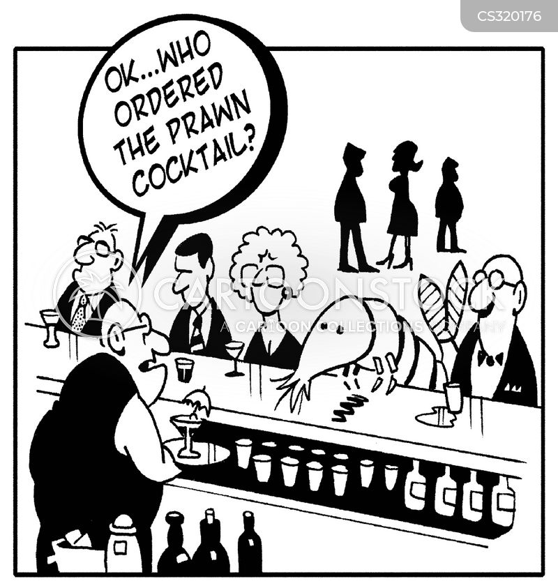 prawn cocktails cartoon