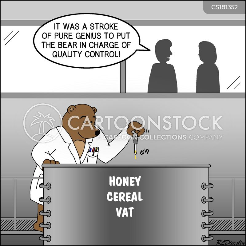 quality tester cartoon