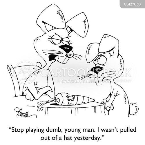 playing dumb cartoon
