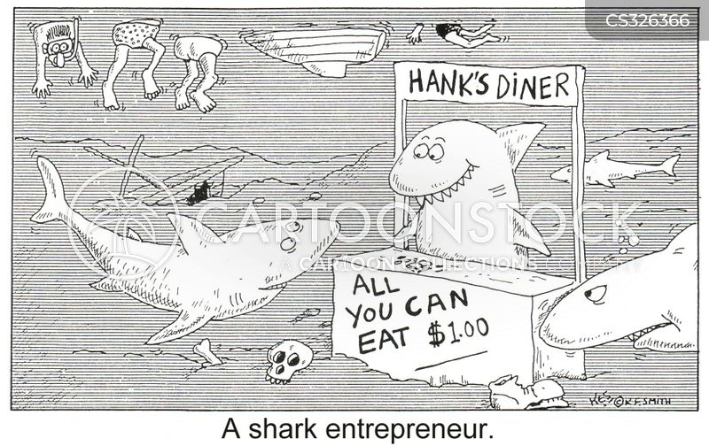 diving with sharks cartoon