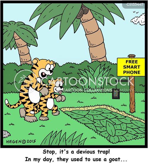 pitfall traps cartoon