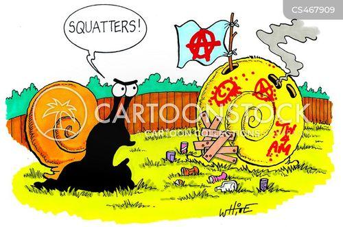 squatting cartoon