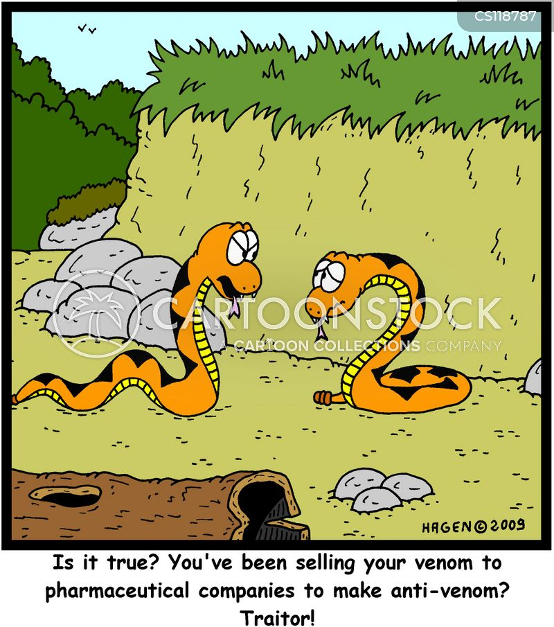 snake bite cartoon