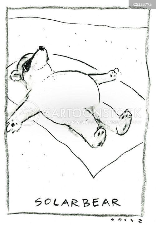 sun bathing cartoon
