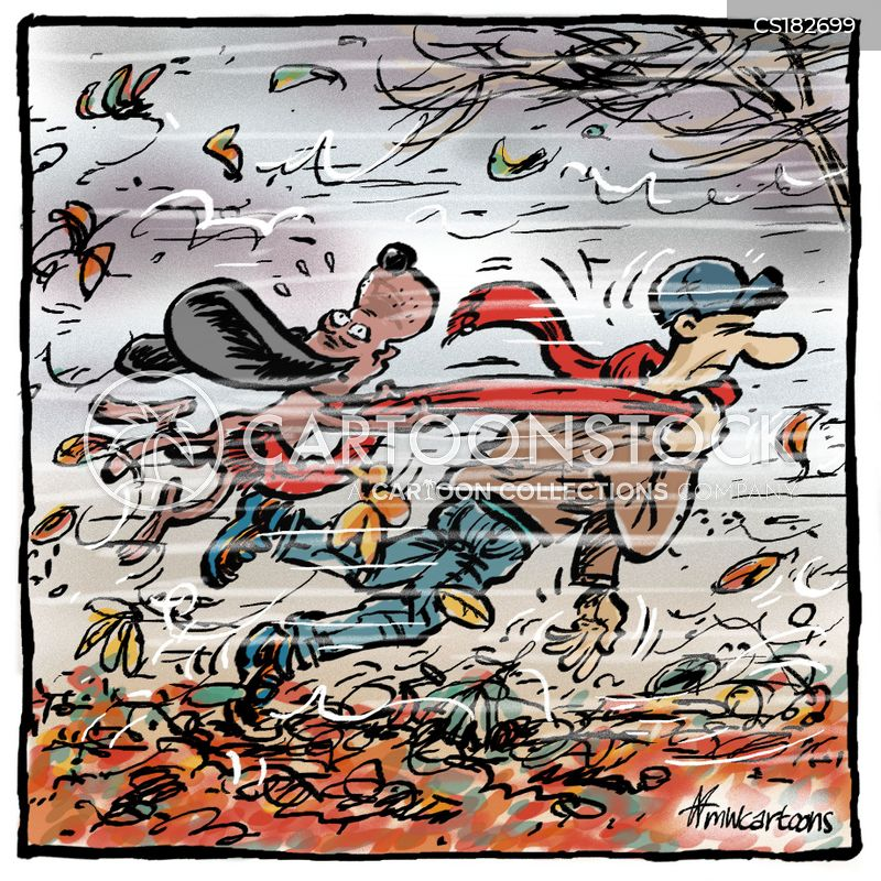 windy weather cartoon