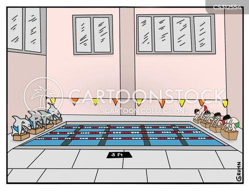swimming lessons cartoon