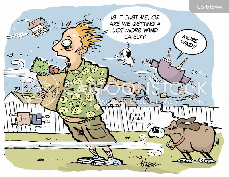 windy day cartoon