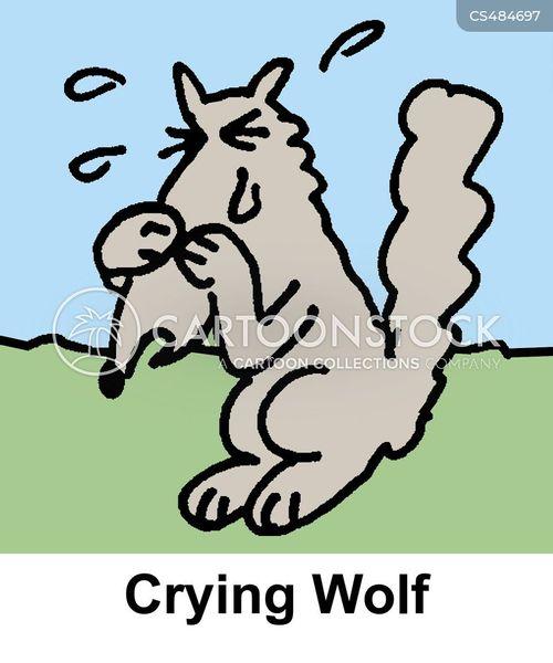 crying wolf cartoon