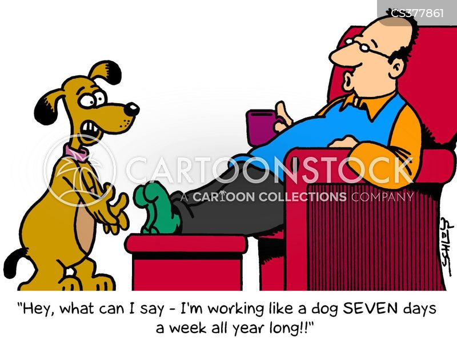 working like a dog cartoon