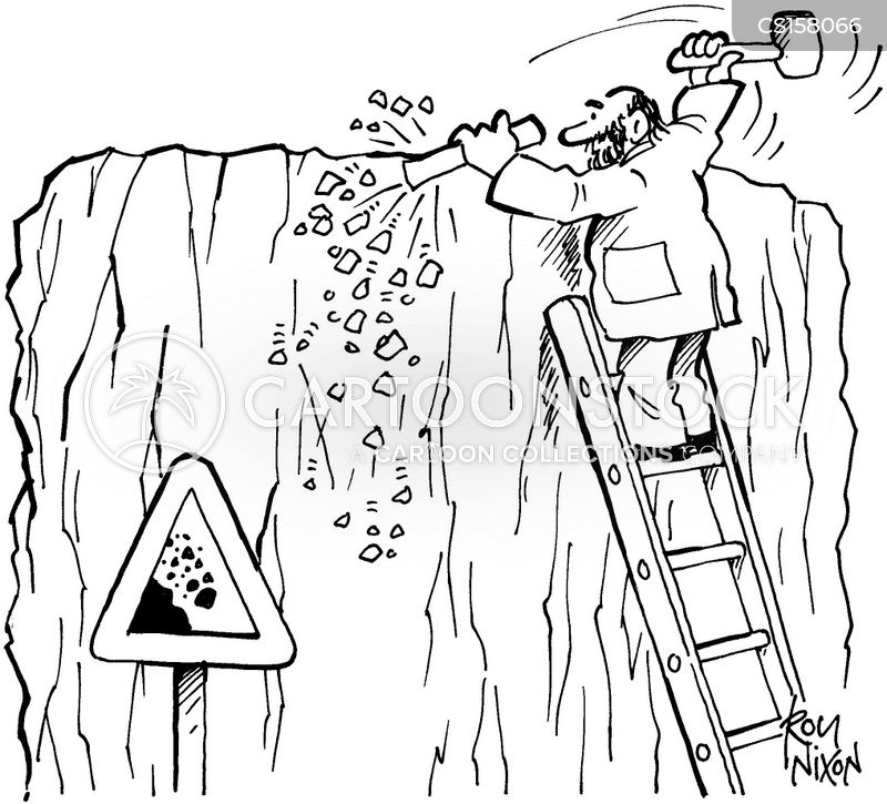 rock falls cartoon