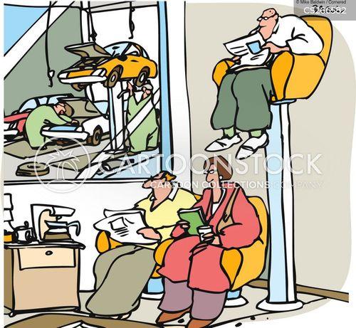 automotive shop cartoon