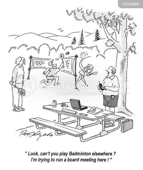 badminton match cartoon