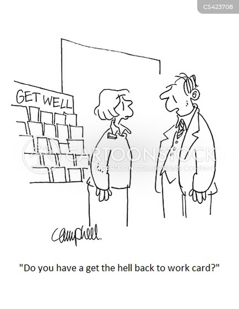 sick cards cartoon