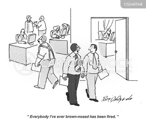 brown-nosing cartoon