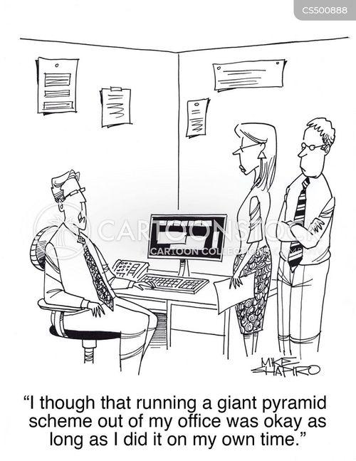 financial scam cartoon