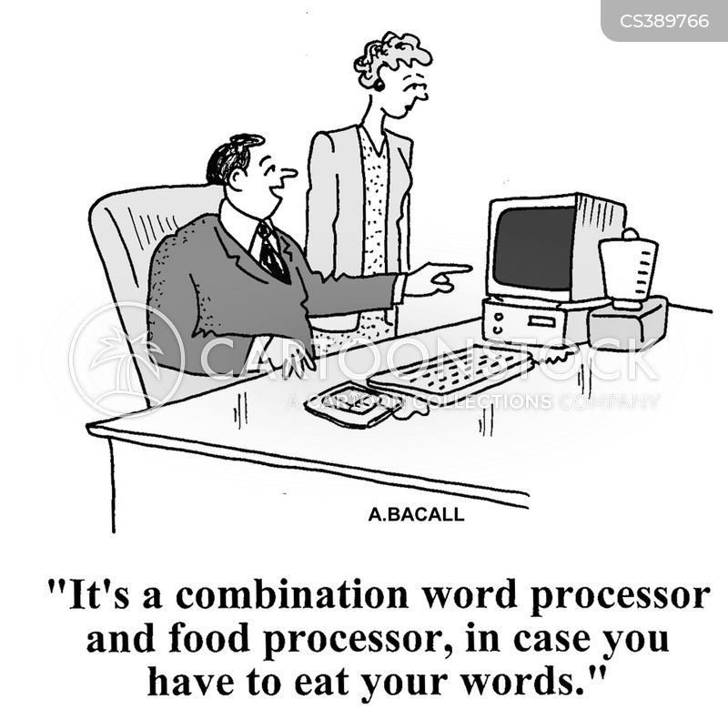 word processor cartoon