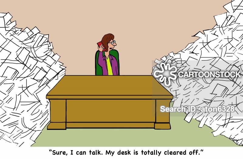 clean desk cartoon