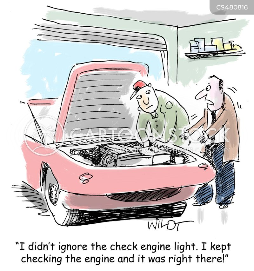 check engine light cartoon
