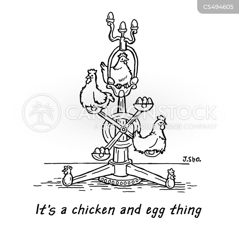 chicken and egg cartoon