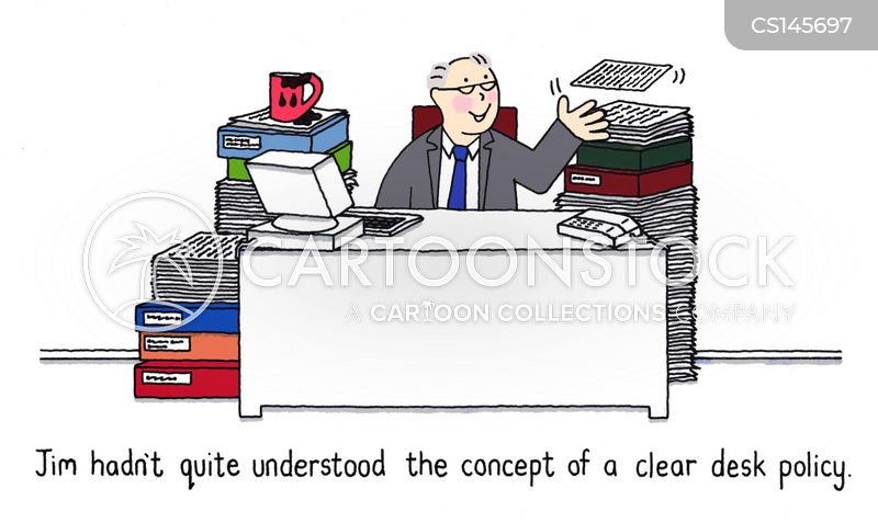 Clean Desk Policy Template Messy Desk Cartoons And Comics Funny Pictures From CartoonStock