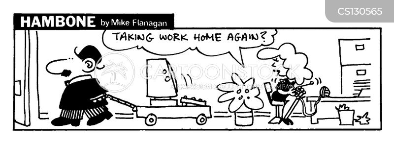 taking work home cartoon