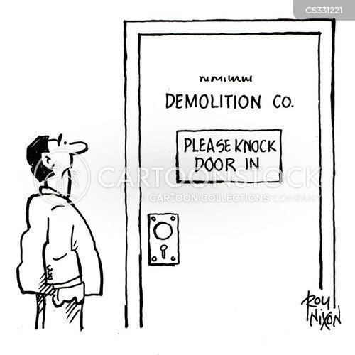 demolishing cartoon