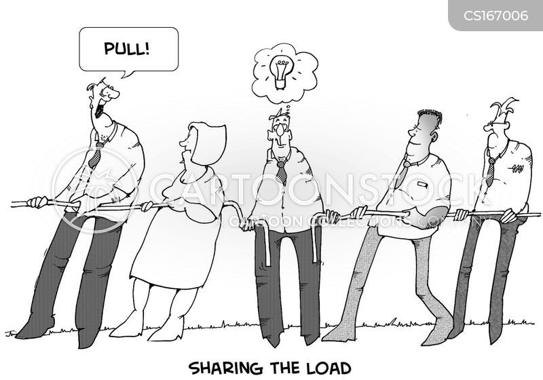 working together cartoon