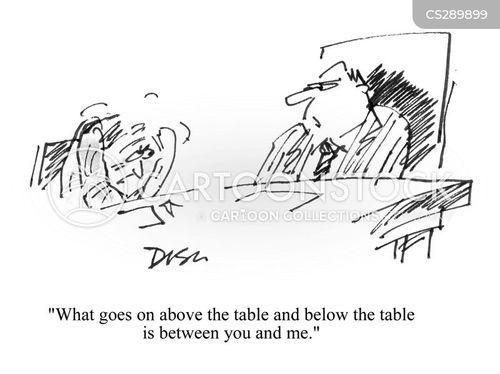 under the table cartoon