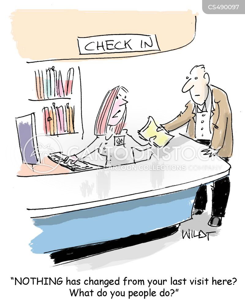 check-in desk cartoon