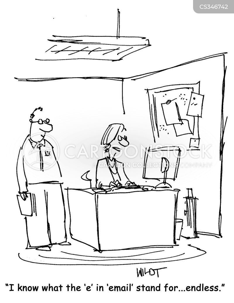 answering emails cartoon