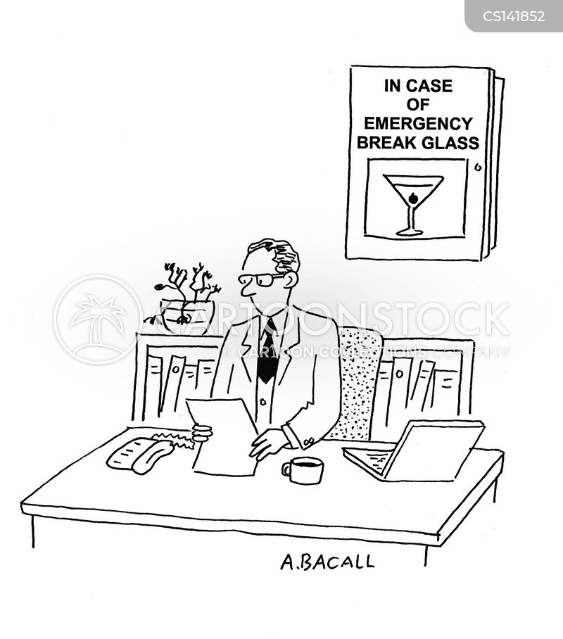 emergency glass cartoon