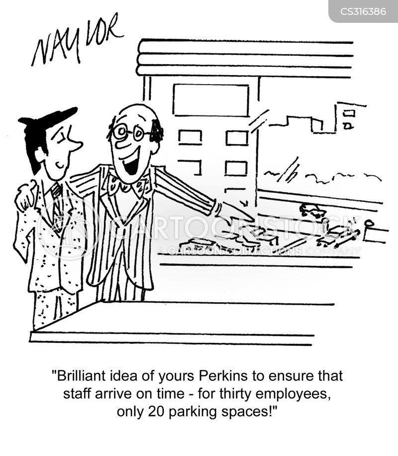 employee parking cartoon