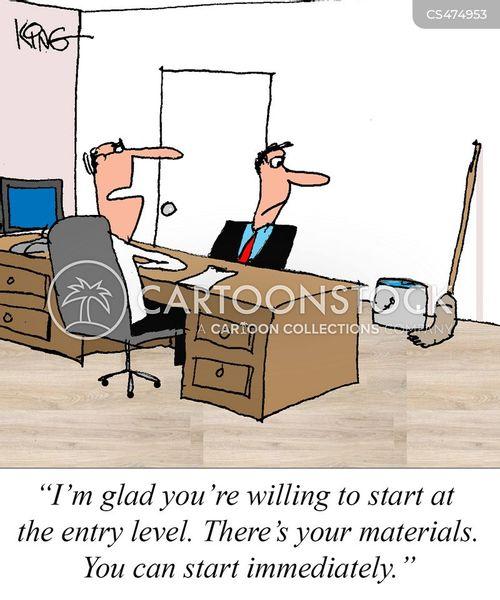 entry level jobs cartoon