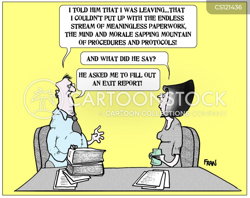 Image result for exit interviews cartoon