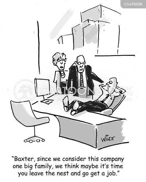 non-working employee cartoon