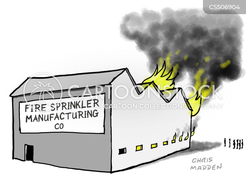 fire sprinklers cartoon