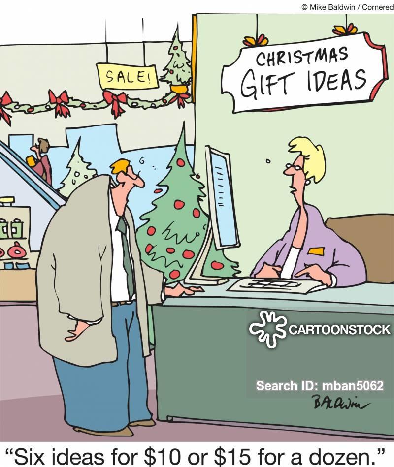 xmas shopping cartoon