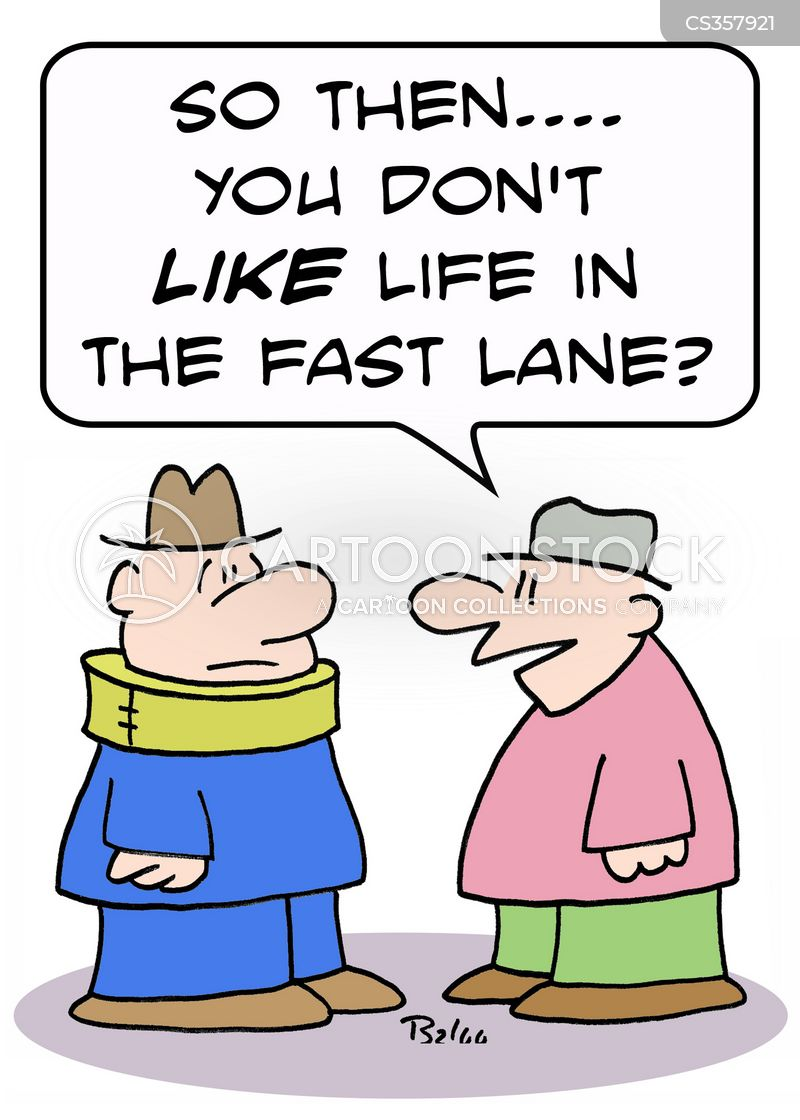 slow lane cartoon